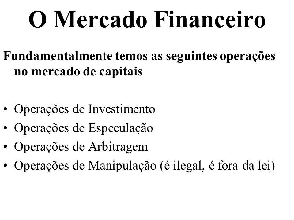 O Mercado Financeiro Fundamentalmente temos as seguintes operações no mercado de capitais. Operações de Investimento.