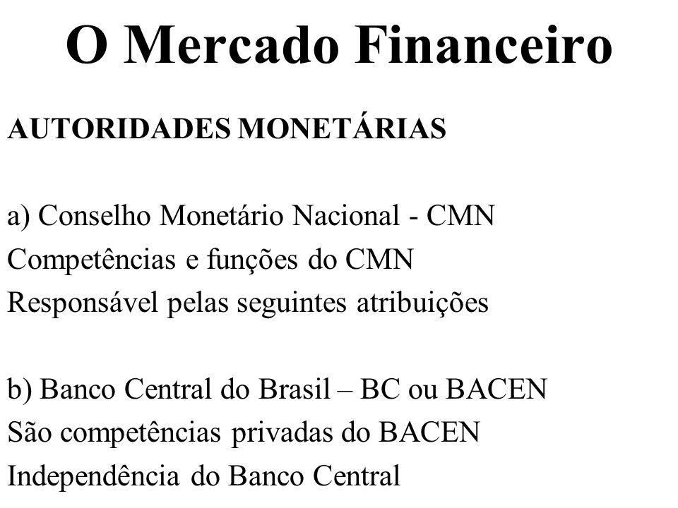 O Mercado Financeiro AUTORIDADES MONETÁRIAS