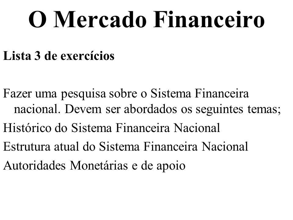 O Mercado Financeiro Lista 3 de exercícios