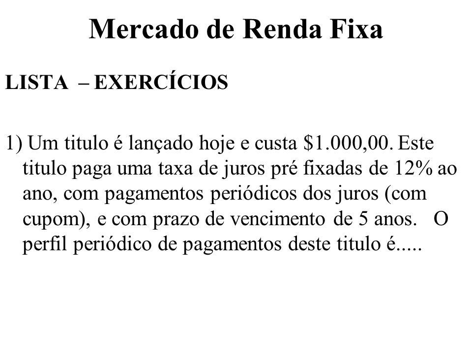 Mercado de Renda Fixa LISTA – EXERCÍCIOS