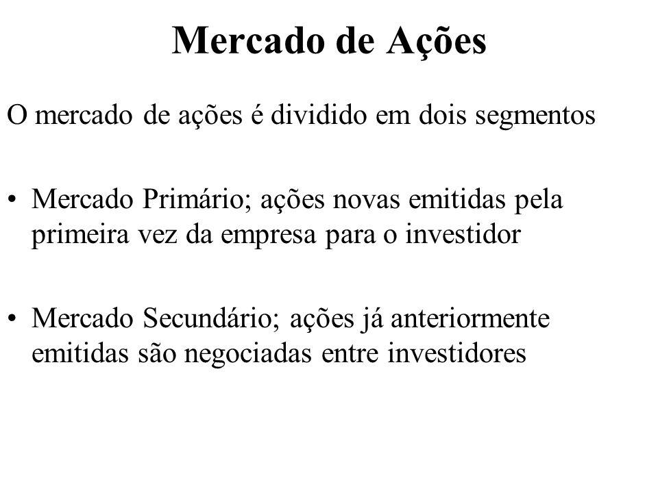 Mercado de Ações O mercado de ações é dividido em dois segmentos