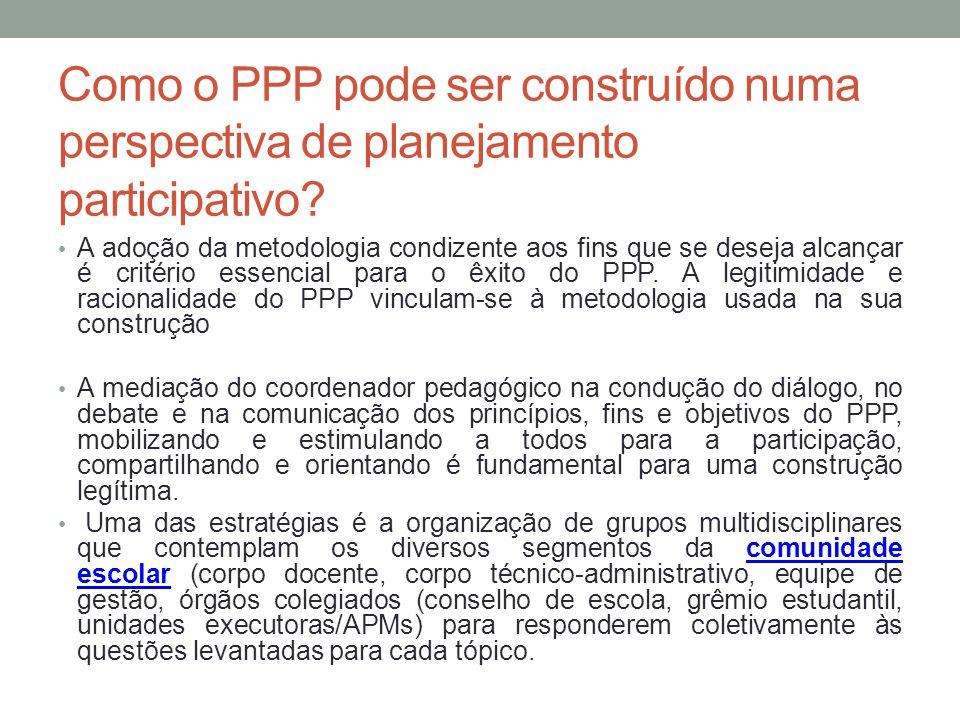 Como o PPP pode ser construído numa perspectiva de planejamento participativo