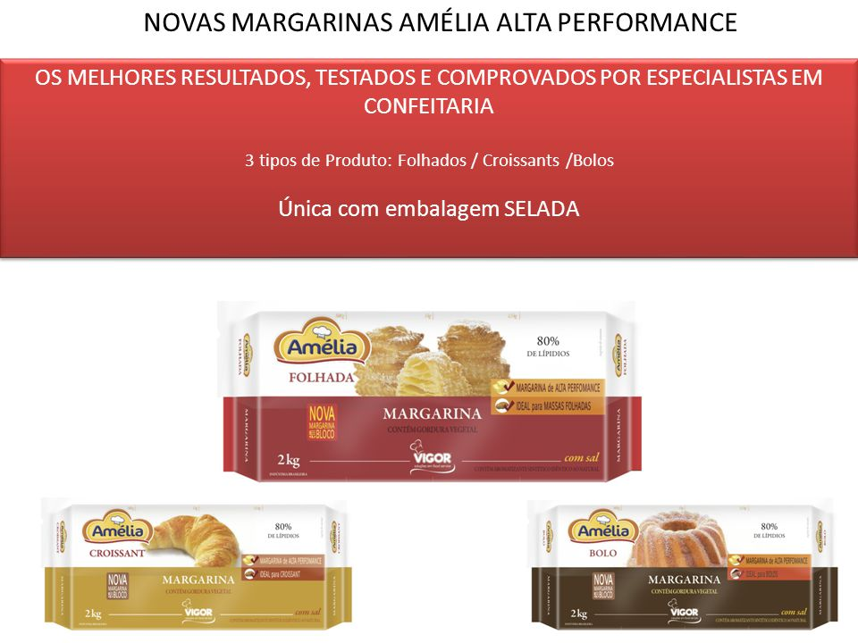 NOVAS MARGARINAS AMÉLIA ALTA PERFORMANCE