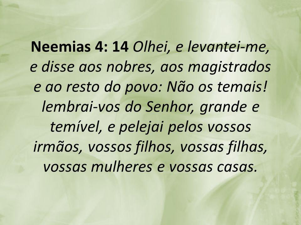 Neemias 4: 14 Olhei, e levantei-me, e disse aos nobres, aos magistrados e ao resto do povo: Não os temais.