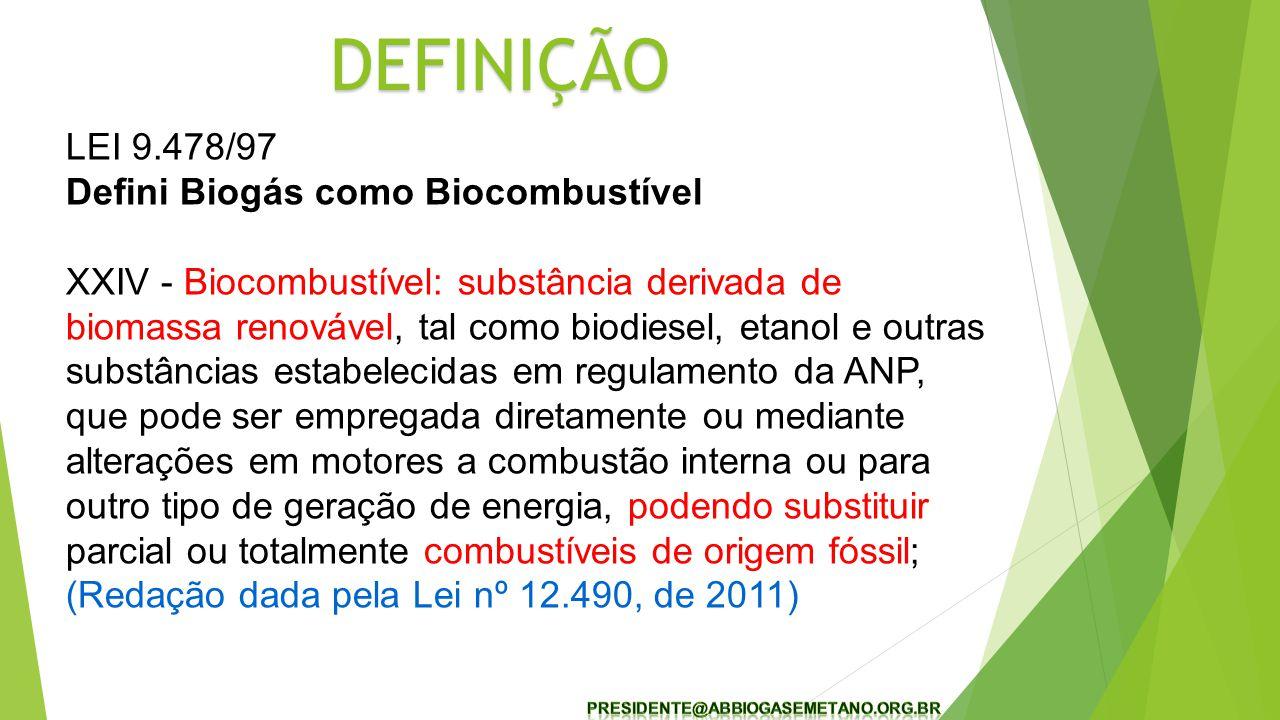 DEFINIÇÃO LEI 9.478/97 Defini Biogás como Biocombustível
