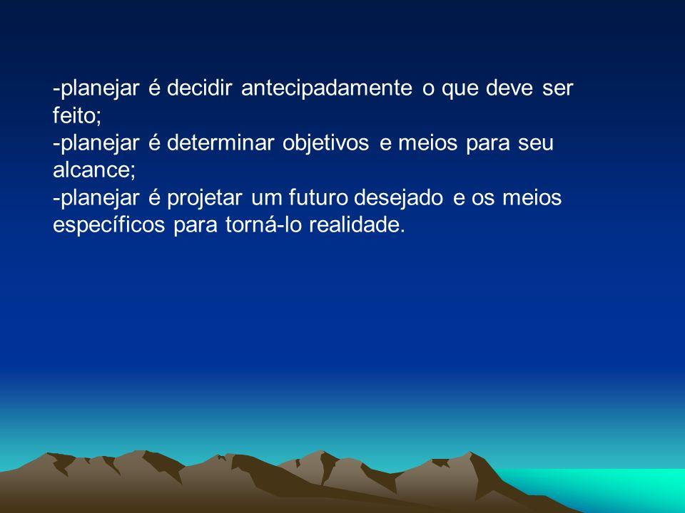 -planejar é decidir antecipadamente o que deve ser feito;