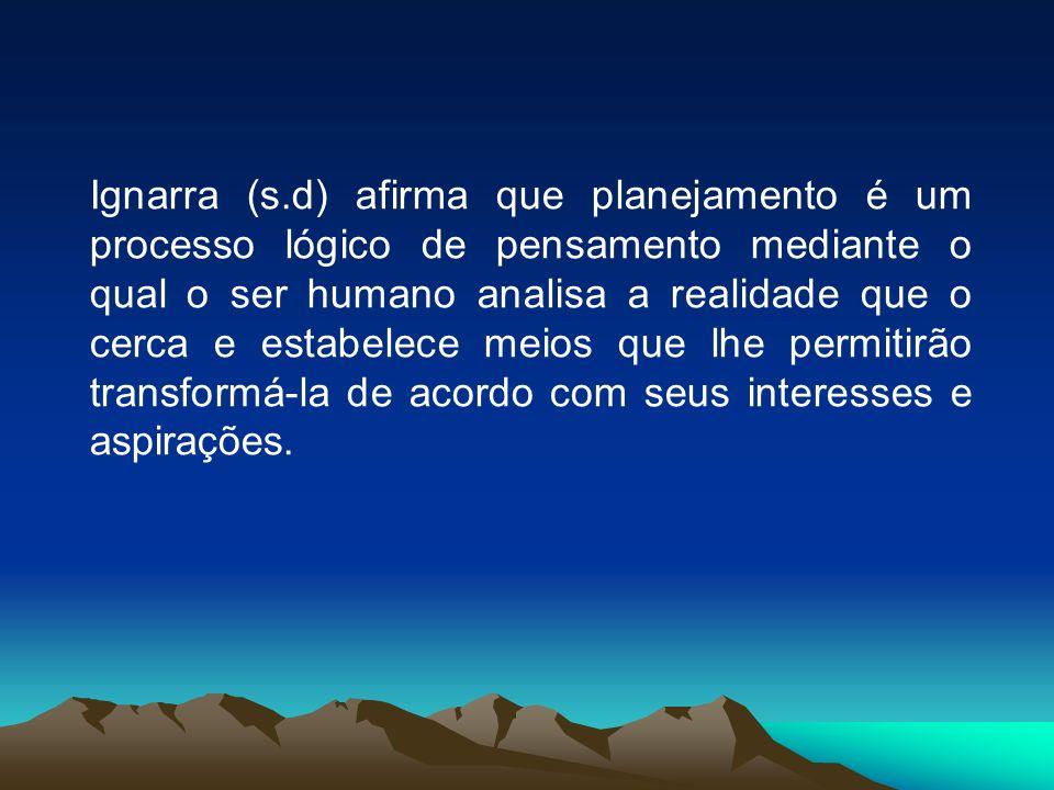 Ignarra (s.d) afirma que planejamento é um processo lógico de pensamento mediante o qual o ser humano analisa a realidade que o cerca e estabelece meios que lhe permitirão transformá-la de acordo com seus interesses e aspirações.