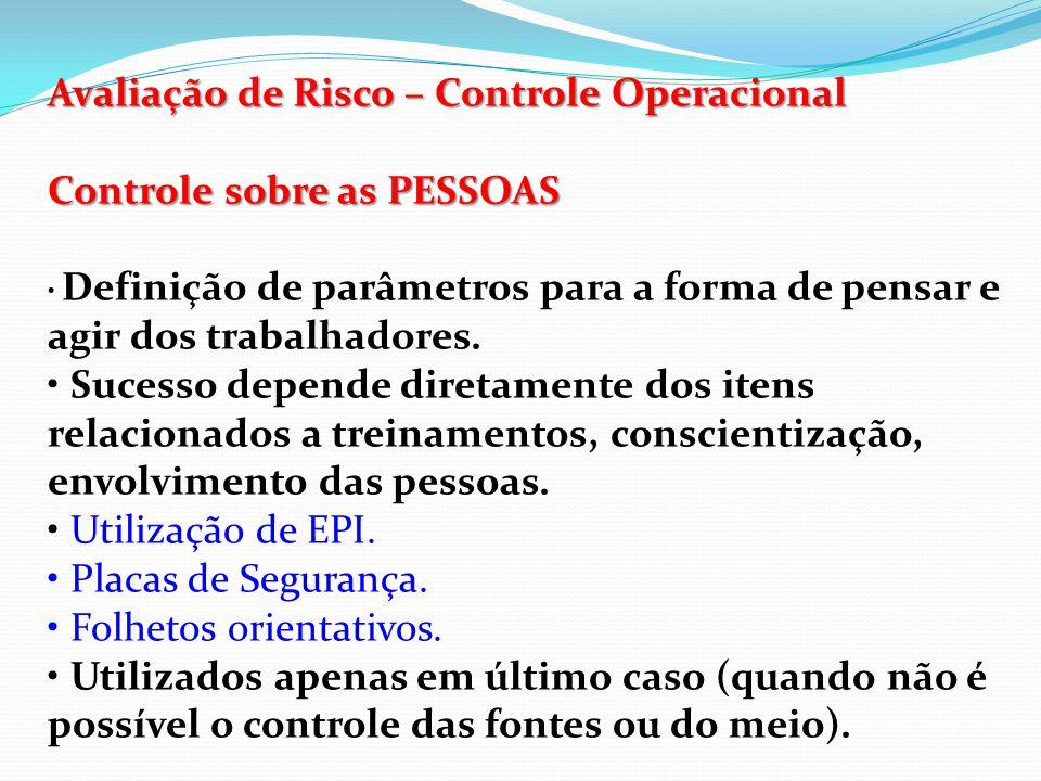Avaliação de Risco – Controle Operacional Controle sobre as PESSOAS