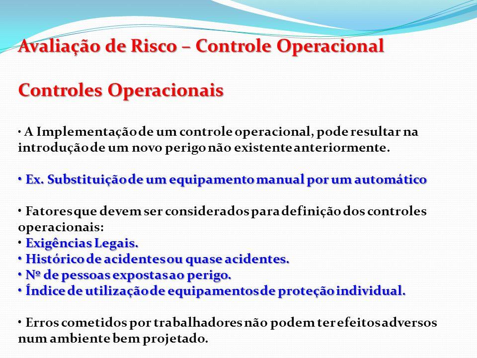 Avaliação de Risco – Controle Operacional Controles Operacionais