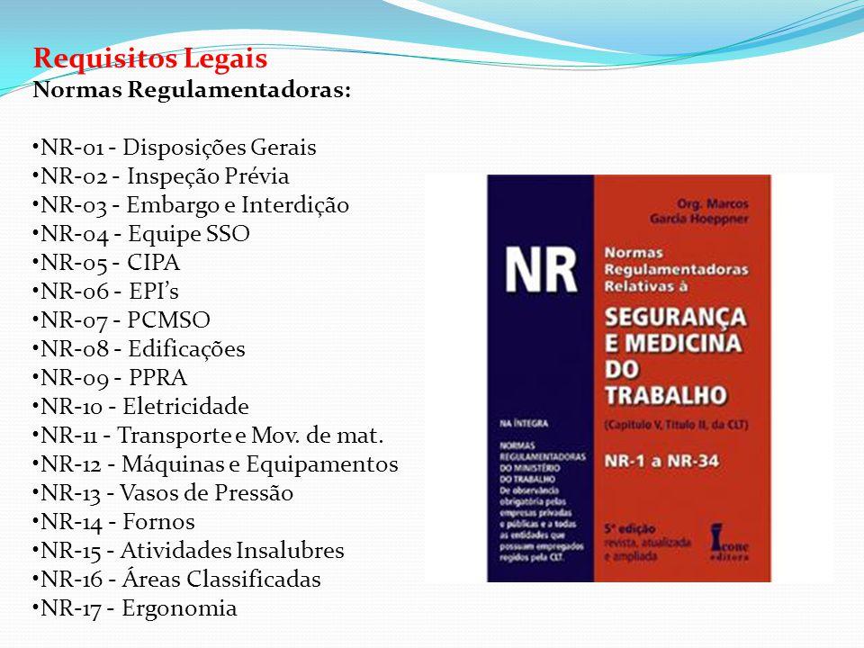 Requisitos Legais Normas Regulamentadoras: •NR-01 - Disposições Gerais