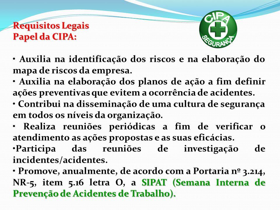 Requisitos Legais Papel da CIPA: • Auxilia na identificação dos riscos e na elaboração do mapa de riscos da empresa.