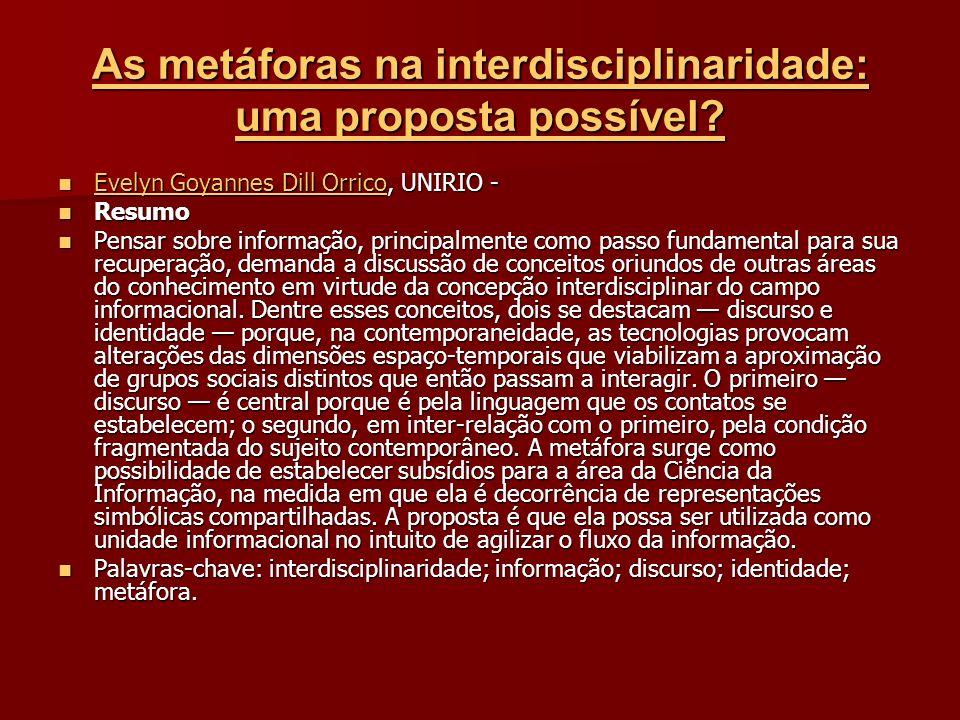 As metáforas na interdisciplinaridade: uma proposta possível