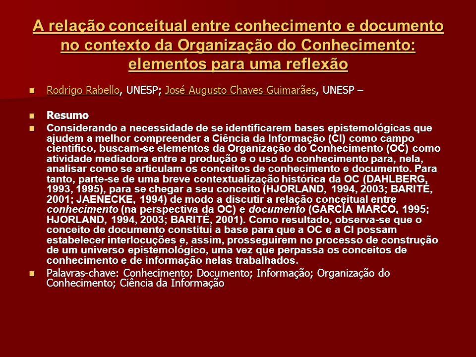 A relação conceitual entre conhecimento e documento no contexto da Organização do Conhecimento: elementos para uma reflexão