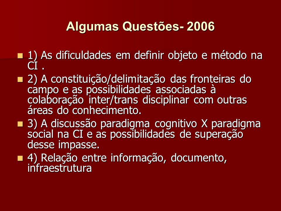 Algumas Questões- 2006 1) As dificuldades em definir objeto e método na CI .