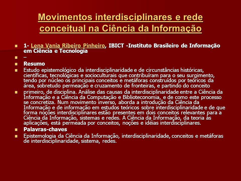 Movimentos interdisciplinares e rede conceitual na Ciência da Informação