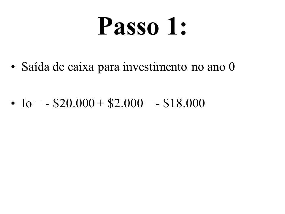 Passo 1: Saída de caixa para investimento no ano 0