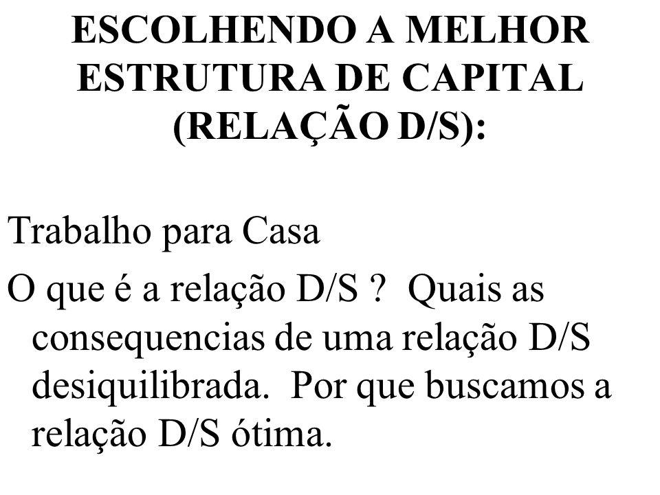 ESCOLHENDO A MELHOR ESTRUTURA DE CAPITAL (RELAÇÃO D/S):
