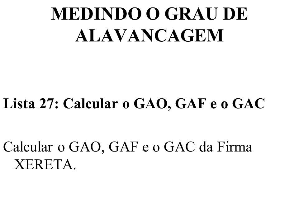 MEDINDO O GRAU DE ALAVANCAGEM