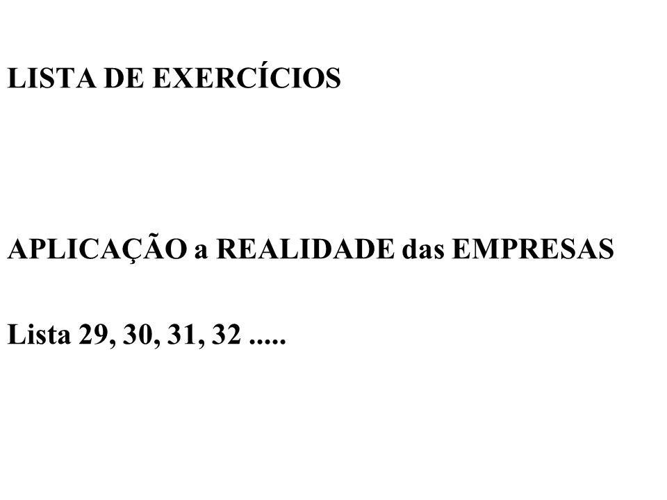 LISTA DE EXERCÍCIOS APLICAÇÃO a REALIDADE das EMPRESAS Lista 29, 30, 31, 32 .....