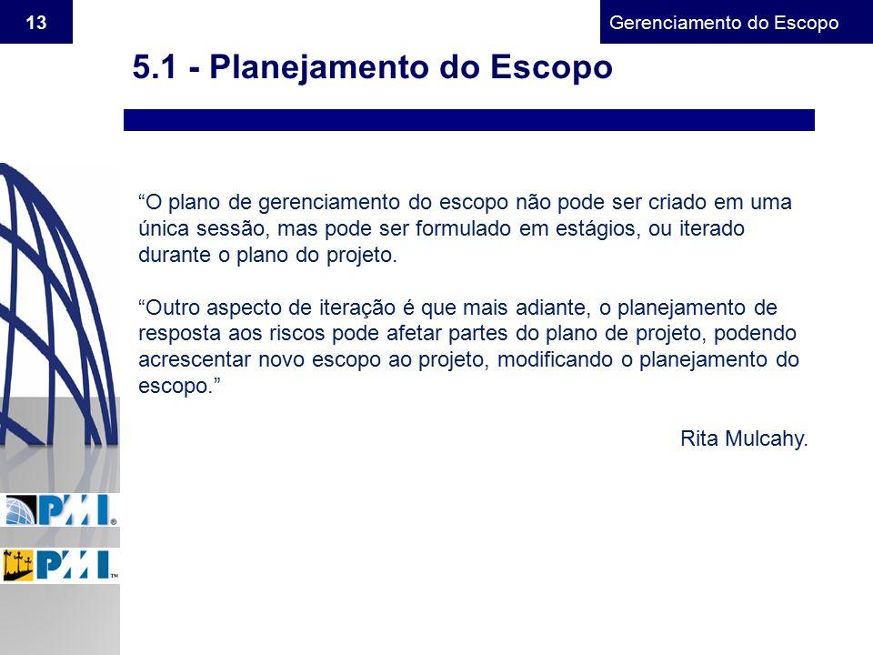 5.1 - Planejamento do Escopo