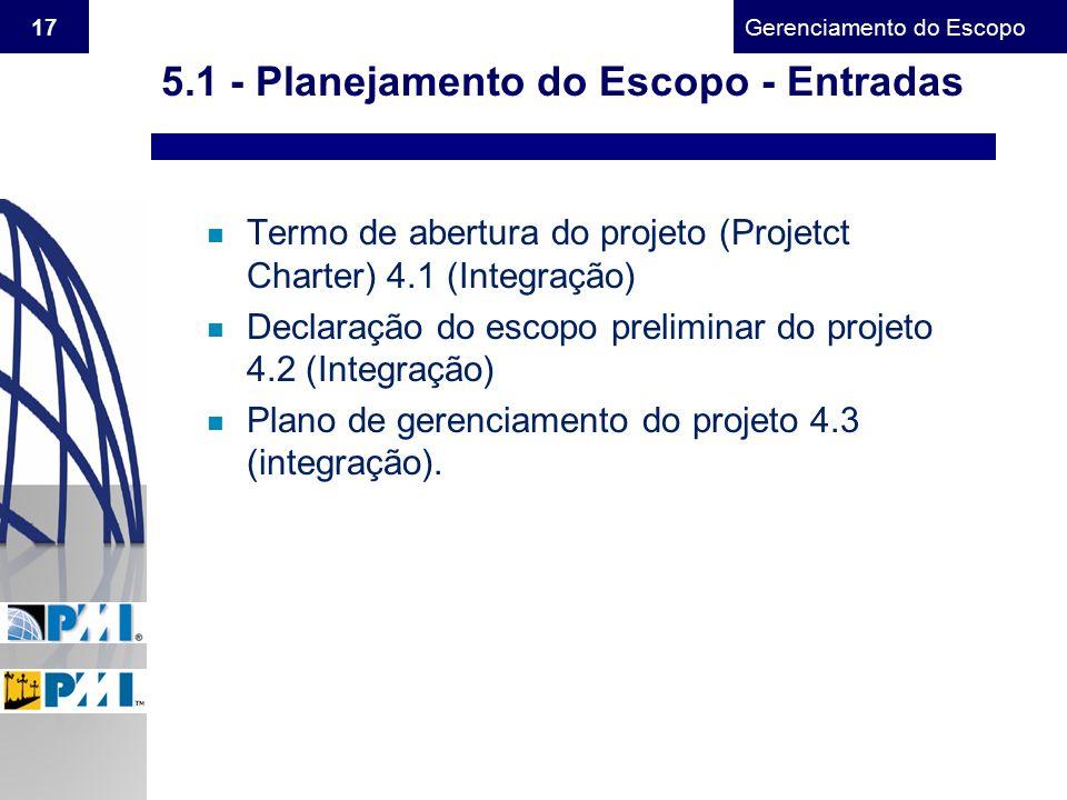 5.1 - Planejamento do Escopo - Entradas