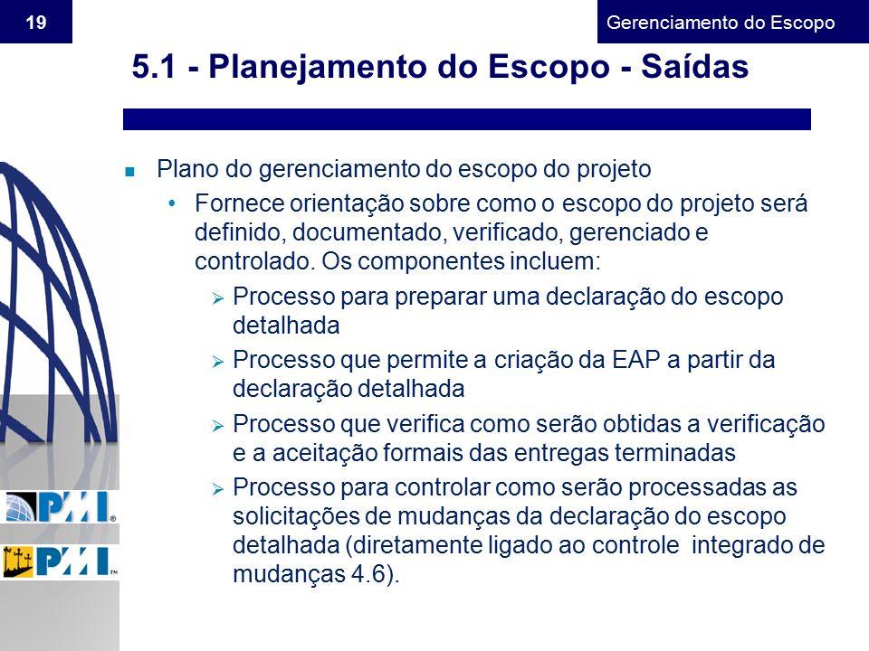 5.1 - Planejamento do Escopo - Saídas