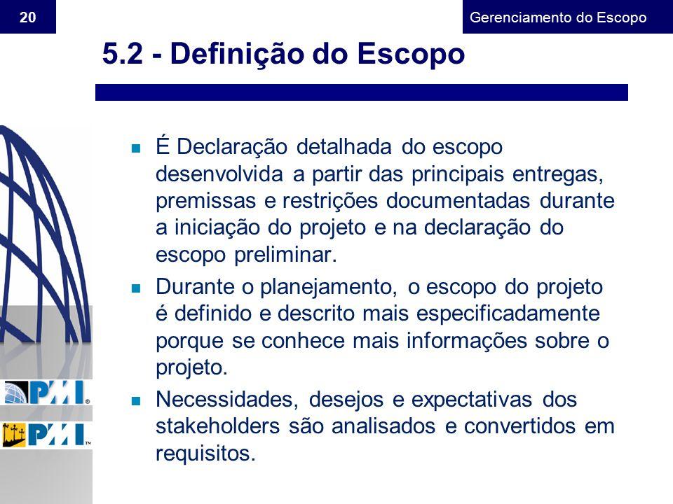 5.2 - Definição do Escopo