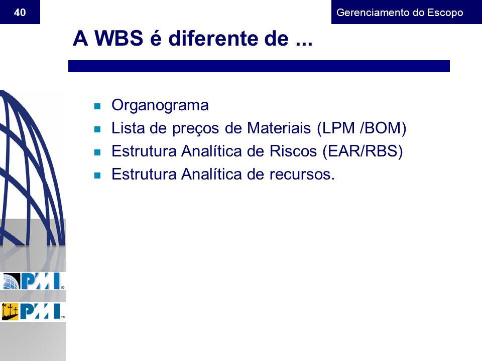 A WBS é diferente de ... Organograma