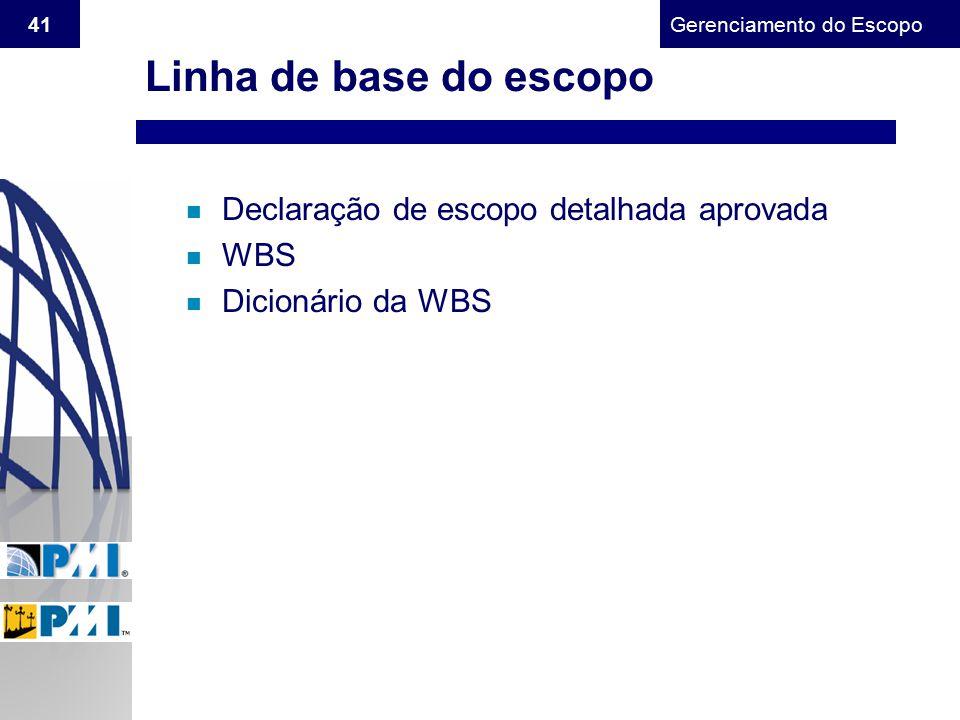 Linha de base do escopo Declaração de escopo detalhada aprovada WBS