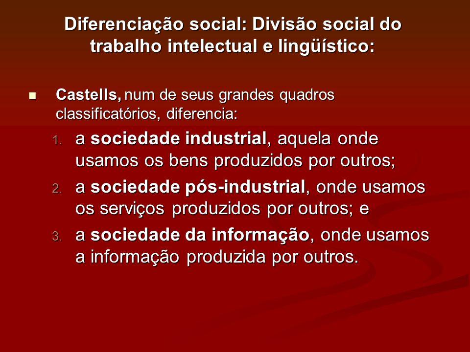 Diferenciação social: Divisão social do trabalho intelectual e lingüístico: