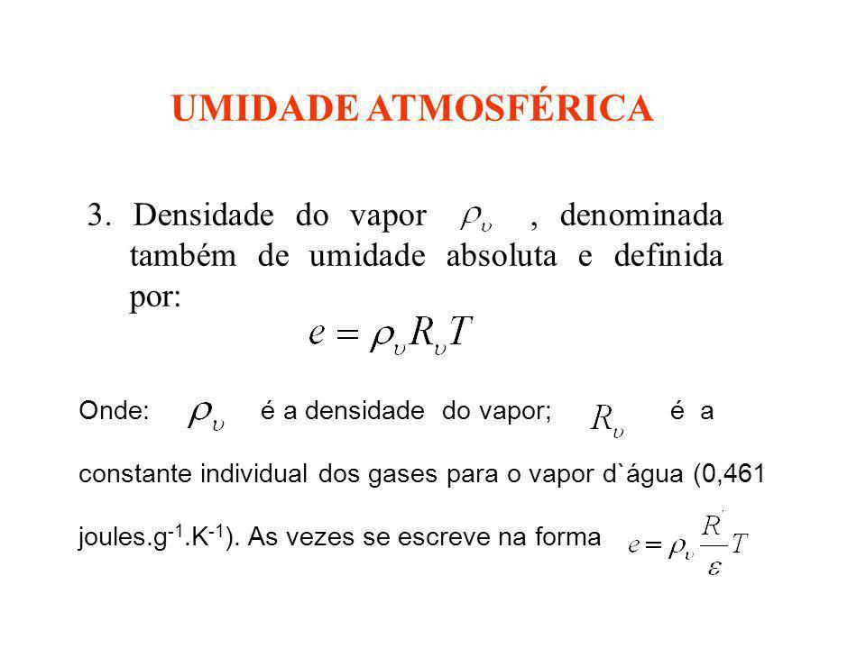 UMIDADE ATMOSFÉRICA 3. Densidade do vapor , denominada também de umidade absoluta e definida por: