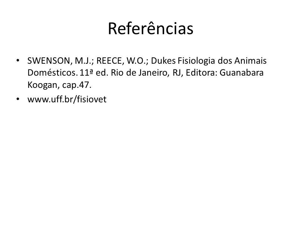 Referências SWENSON, M.J.; REECE, W.O.; Dukes Fisiologia dos Animais Domésticos. 11ª ed. Rio de Janeiro, RJ, Editora: Guanabara Koogan, cap.47.