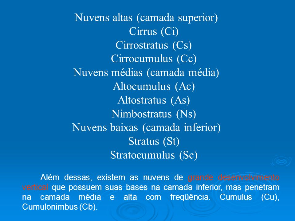 Nuvens altas (camada superior) Cirrus (Ci) Cirrostratus (Cs)