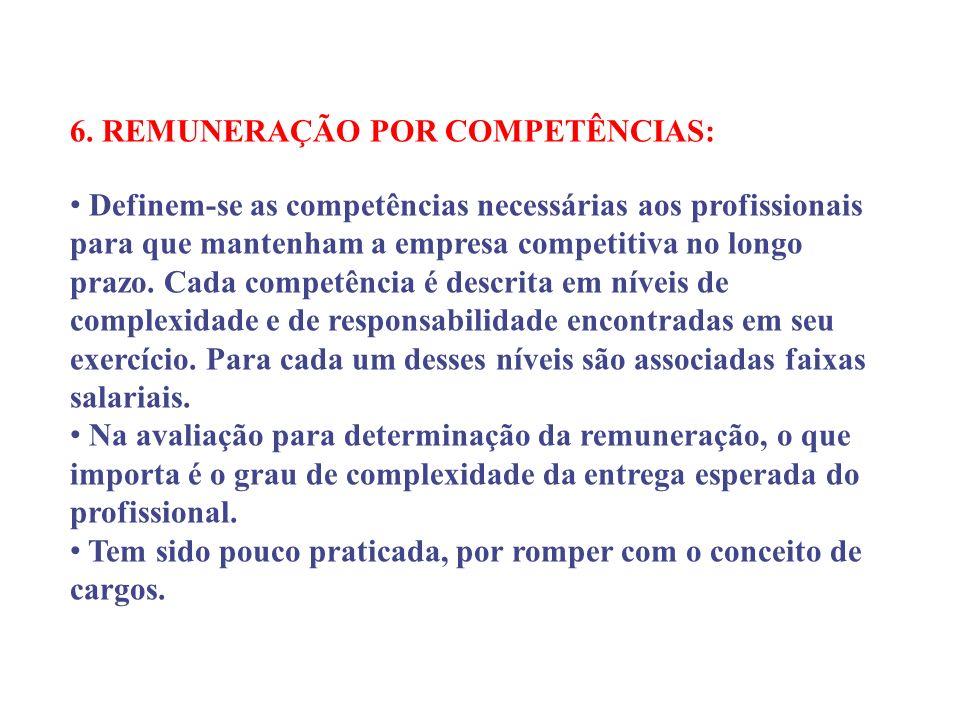 6. REMUNERAÇÃO POR COMPETÊNCIAS: