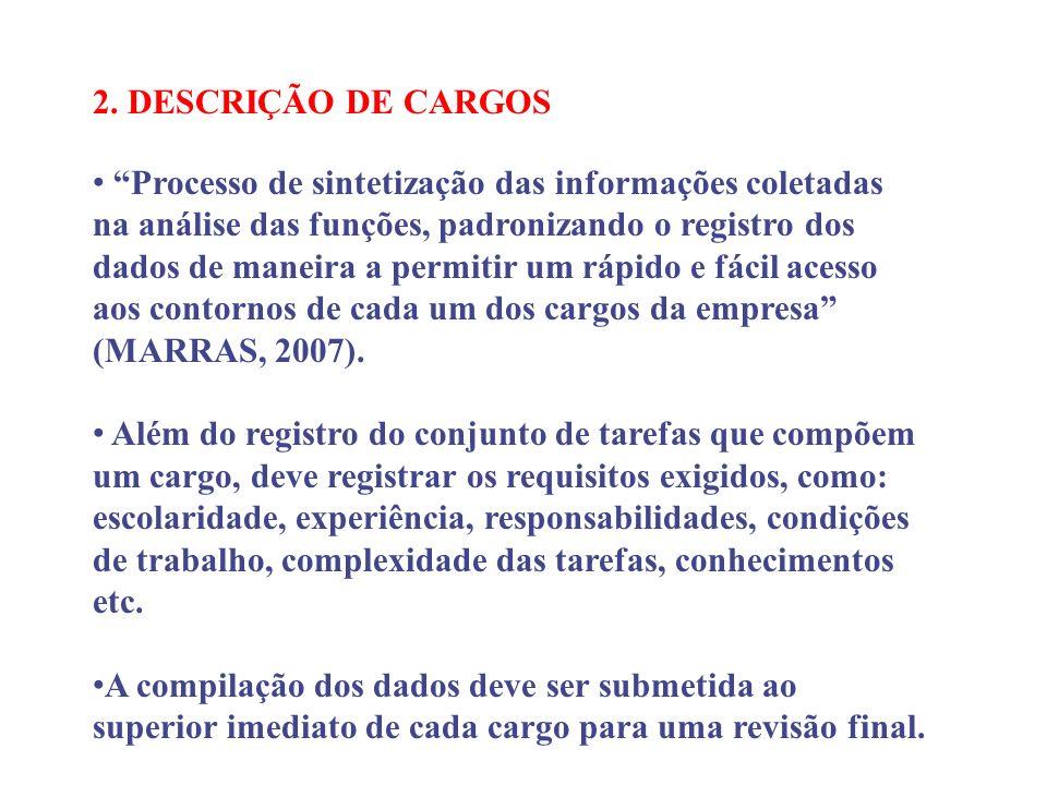 2. DESCRIÇÃO DE CARGOS
