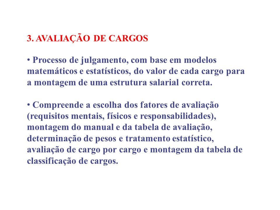 3. AVALIAÇÃO DE CARGOS