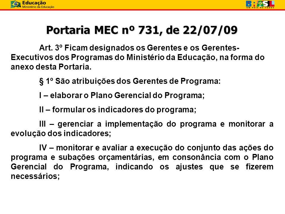 Portaria MEC nº 731, de 22/07/09