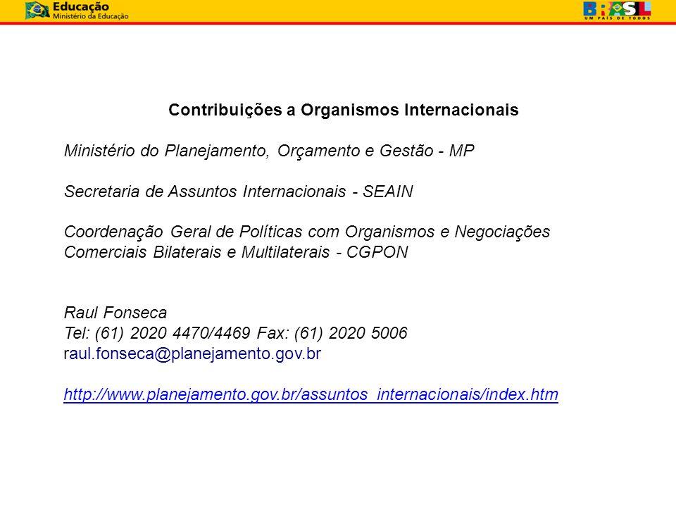 Contribuições a Organismos Internacionais