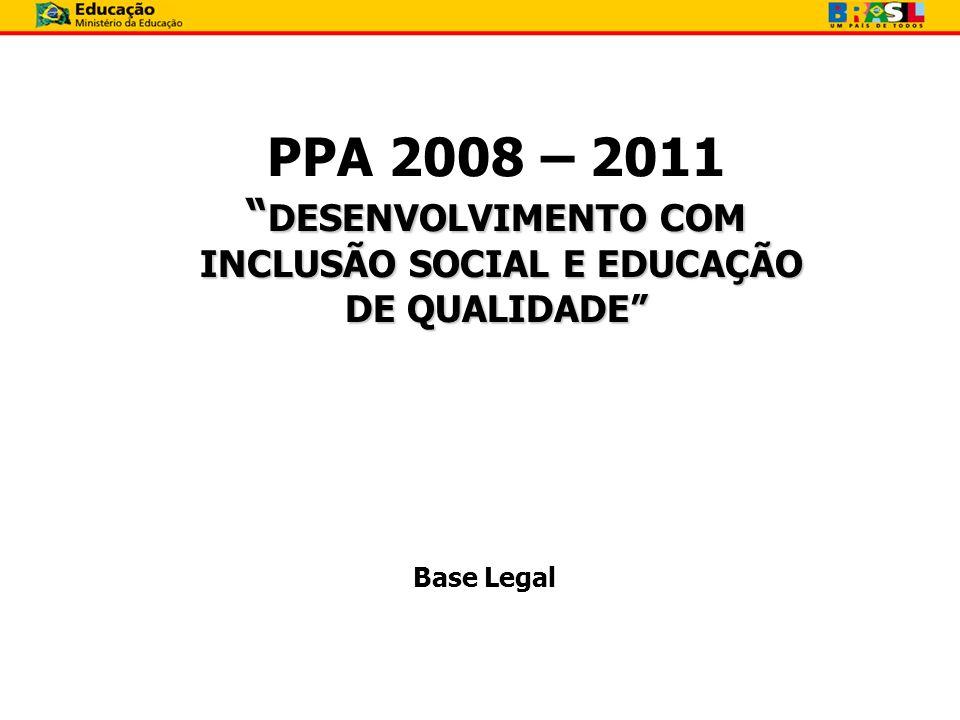 PPA 2008 – 2011 DESENVOLVIMENTO COM INCLUSÃO SOCIAL E EDUCAÇÃO DE QUALIDADE