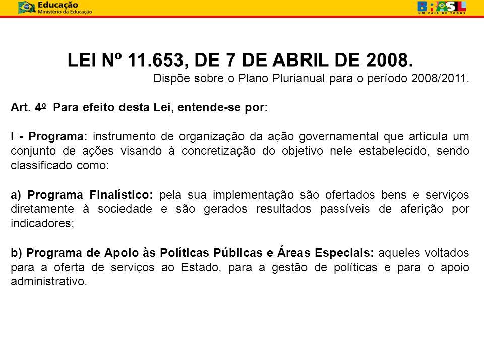LEI Nº 11.653, DE 7 DE ABRIL DE 2008. Dispõe sobre o Plano Plurianual para o período 2008/2011. Art. 4o Para efeito desta Lei, entende-se por:
