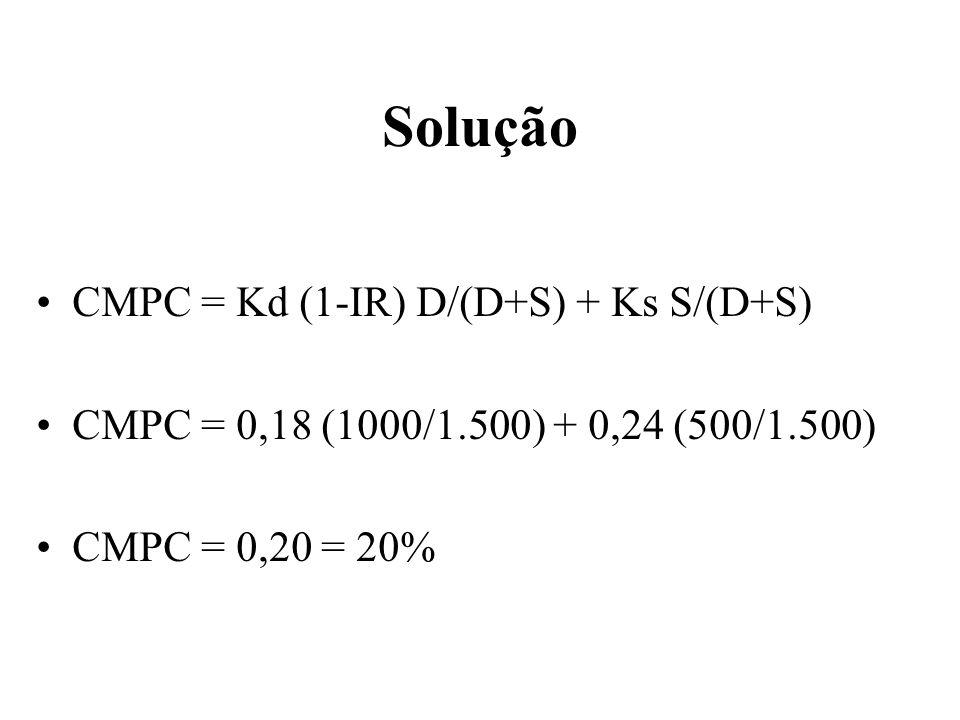 Solução CMPC = Kd (1-IR) D/(D+S) + Ks S/(D+S)