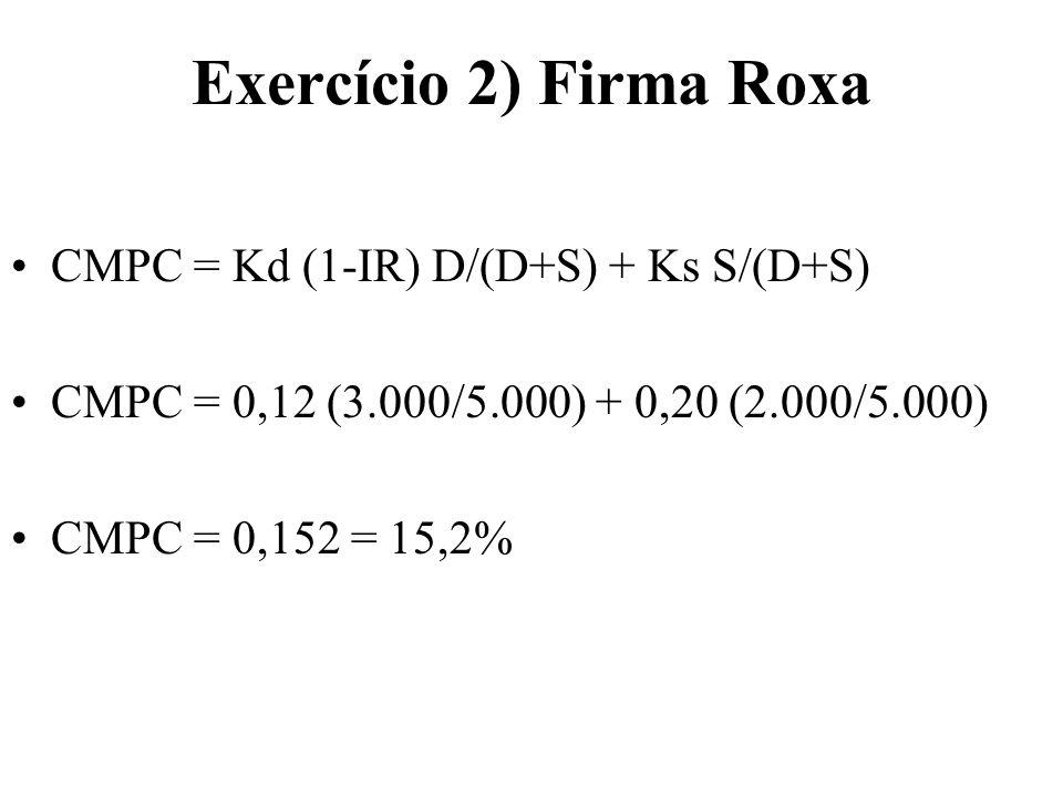 Exercício 2) Firma Roxa CMPC = Kd (1-IR) D/(D+S) + Ks S/(D+S)