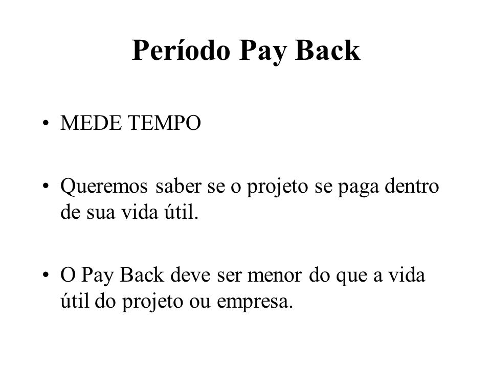 Período Pay Back MEDE TEMPO