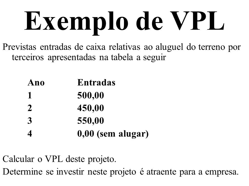 Exemplo de VPLPrevistas entradas de caixa relativas ao aluguel do terreno por terceiros apresentadas na tabela a seguir.