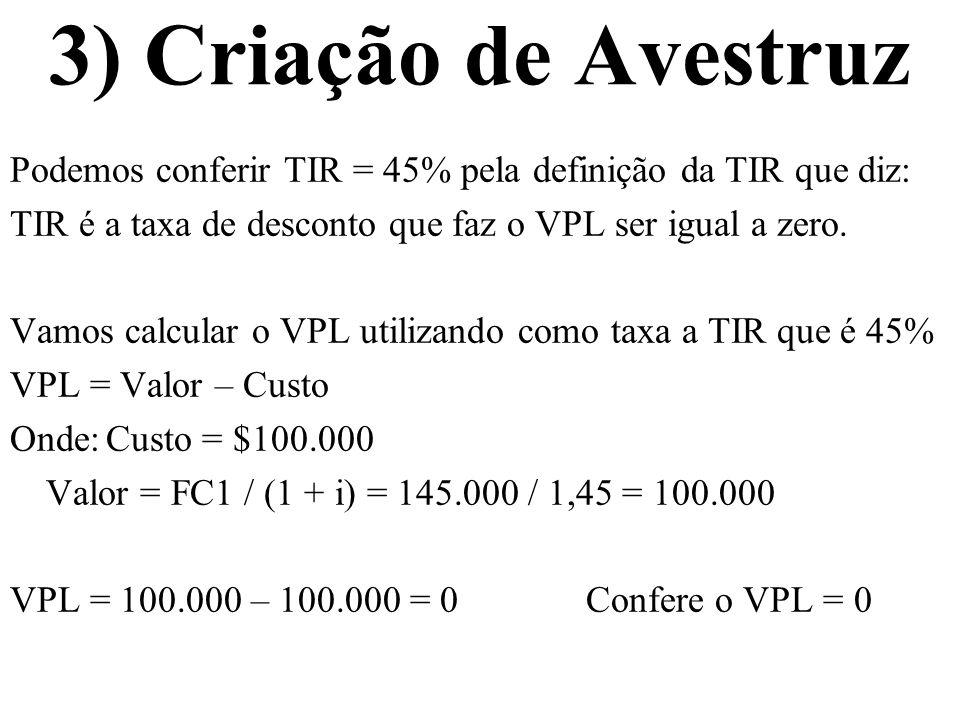 3) Criação de Avestruz Podemos conferir TIR = 45% pela definição da TIR que diz: TIR é a taxa de desconto que faz o VPL ser igual a zero.
