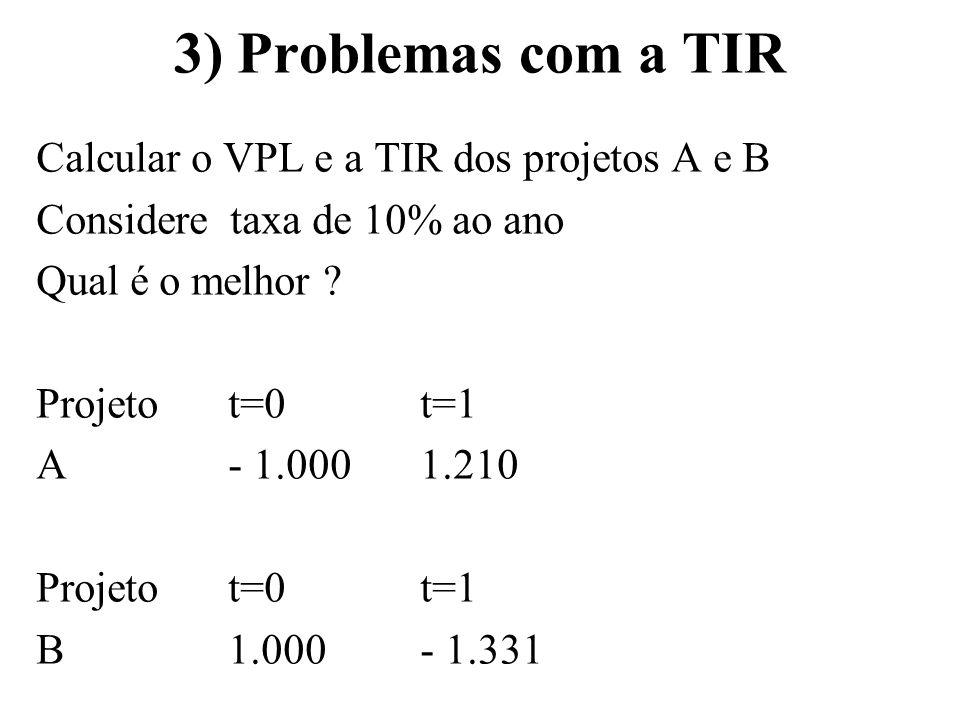 3) Problemas com a TIR Calcular o VPL e a TIR dos projetos A e B