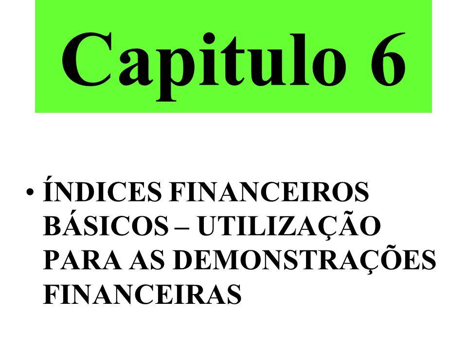 Capitulo 6 ÍNDICES FINANCEIROS BÁSICOS – UTILIZAÇÃO PARA AS DEMONSTRAÇÕES FINANCEIRAS
