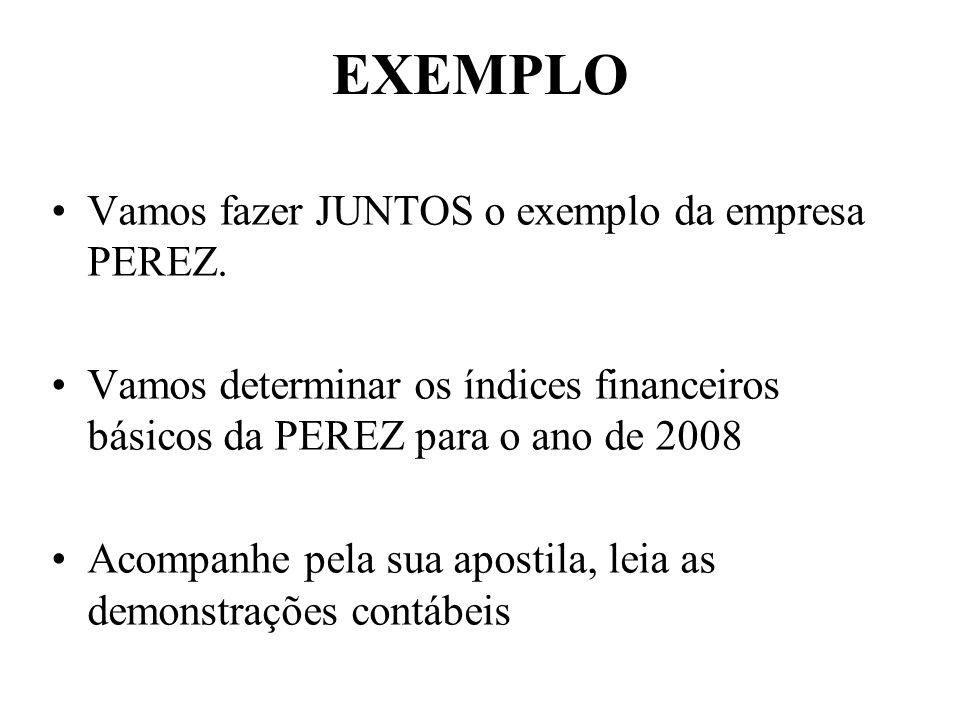 EXEMPLO Vamos fazer JUNTOS o exemplo da empresa PEREZ.
