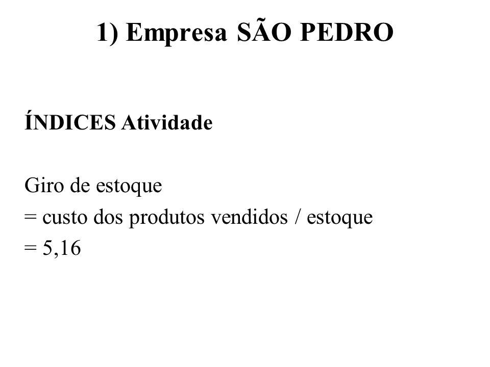1) Empresa SÃO PEDRO ÍNDICES Atividade Giro de estoque