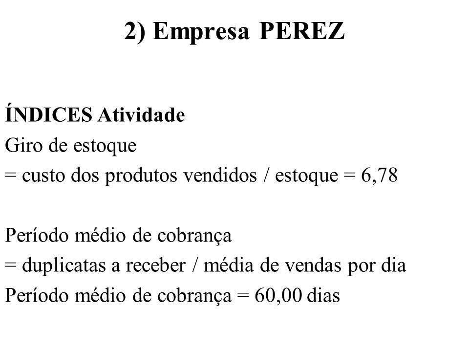 2) Empresa PEREZ ÍNDICES Atividade Giro de estoque
